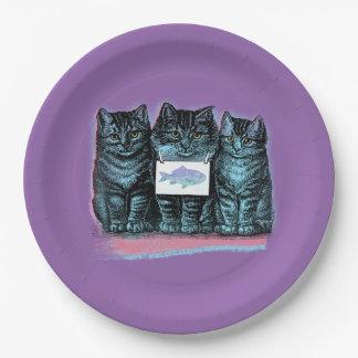 Sweet Vintage Cat Trio 9 Inch Paper Plate