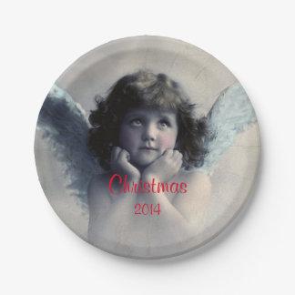Sweet Vintage Christmas Angel 7 Inch Paper Plate