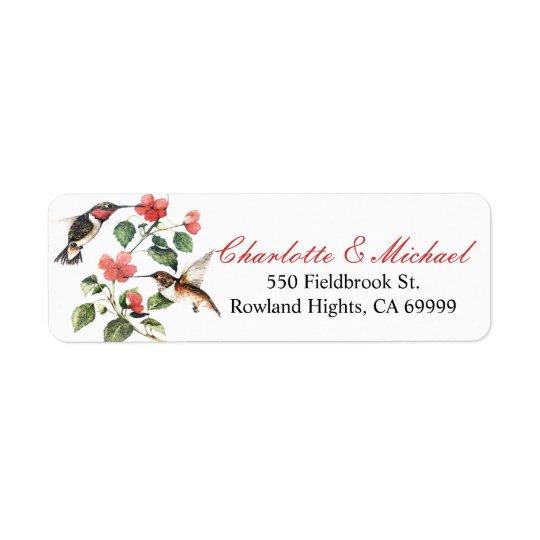 Sweet Vintage Floral Hummingbirds Pair