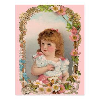 Sweet Vintage Girl Postcard