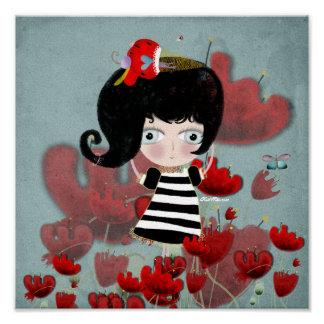 Sweet vintage love doll poppy canvas whimsy art poster