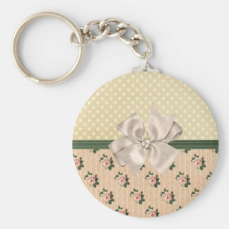 Sweet Vintage Shabby Chic Roses Floral Keychain