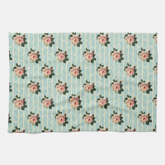 Sweet Vintage Shabby Chic Roses Floral Tea Towel