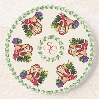 Sweet Vintage Traditional Santa Elephants Monogram Coaster