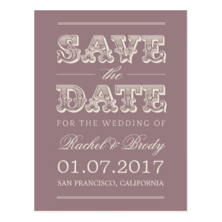 Sweet Vintage Wedding Save The Date - Plum Postcard
