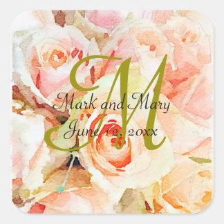 Sweet Watercolor Design Peach Roses Wedding Square Sticker