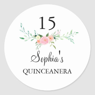 Sweet Watercolor Floral Pink Quinceanera Sticker