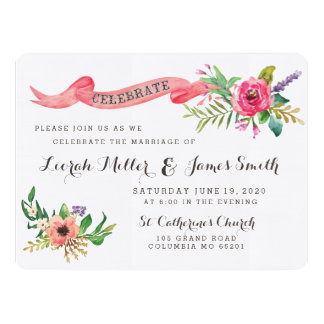 Sweet watercolor flowers with banner 17 cm x 22 cm invitation card