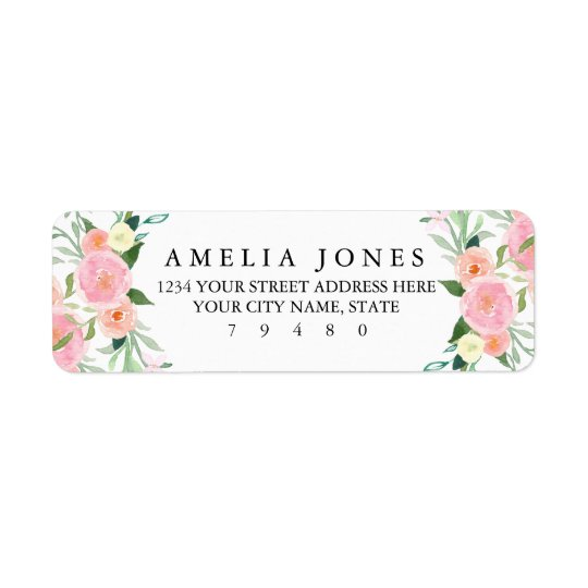Sweet Watercolor Pink Peach Return Address Label