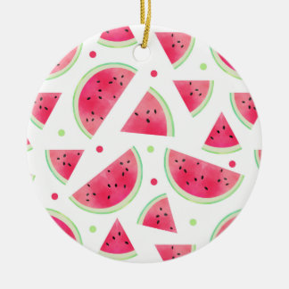 Sweet Watercolor Watermelon Pattern Christmas Ornament