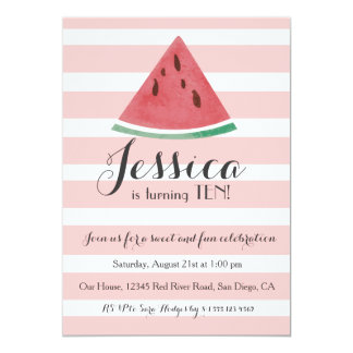 Sweet Watermelon Birthday Invitation for Girls