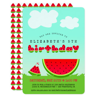 Sweet Watermelon Birthday Picnic Party Card