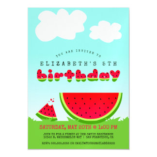 Sweet Watermelon Birthday Picnic Party Magnetic Invitations