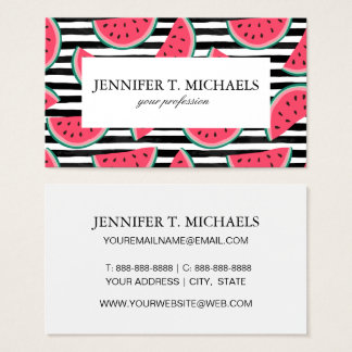 Sweet Watermelon on Stripes Black & White Pattern Business Card