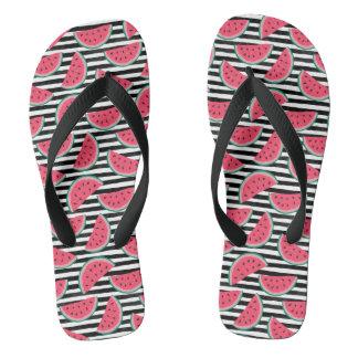 Sweet Watermelon on Stripes Black & White Pattern Flip Flops