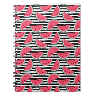 Sweet Watermelon on Stripes Black & White Pattern Notebook