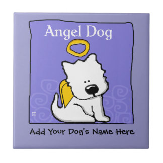 Sweet Westie Dog Angel Memorial Tile
