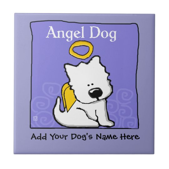 Sweet Westie Dog Angel Memorial Tile