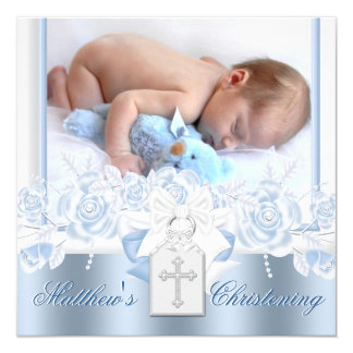 Sweet White and Baby Blue Christening Card