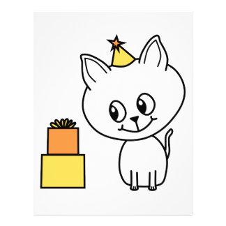 Sweet White Kitten Wearing a Birthday Hat Flyer