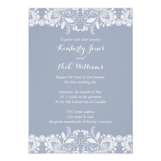Sweet White Lace Dusty Blue Wedding Invitation