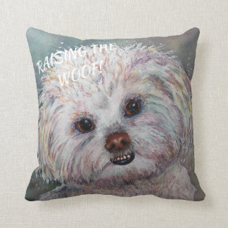 SWEET WHITE MALTESE YORKIE MIX CUSHION