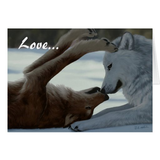 Sweet wolf couple cards