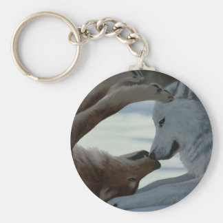 Sweet wolf couple key ring