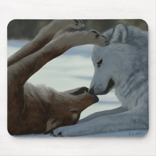 Sweet wolf couple mouse mat