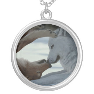 Sweet wolf couple silver plated necklace