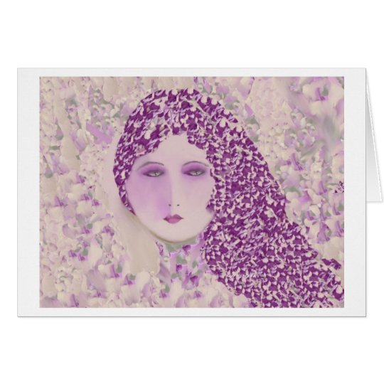 Sweet Woman on Lavender Blank Greeting Card