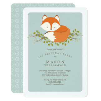 Sweet Woodland Baby Fox Birthday Party Celebration Card