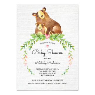 Sweet Woodland Bear Baby Shower Invitation