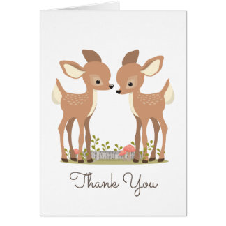 Sweet Woodland Deer Twin Baby Gift Thank You Card