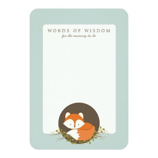 Sweet Woodland Fox Baby Shower Advice Insert Card