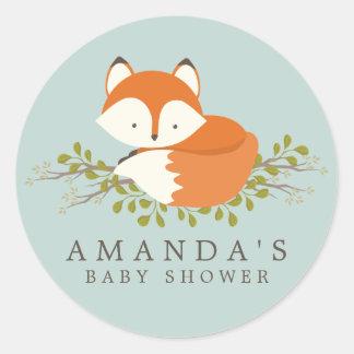 Sweet Woodland Fox Baby Shower Favor Seal Round Sticker