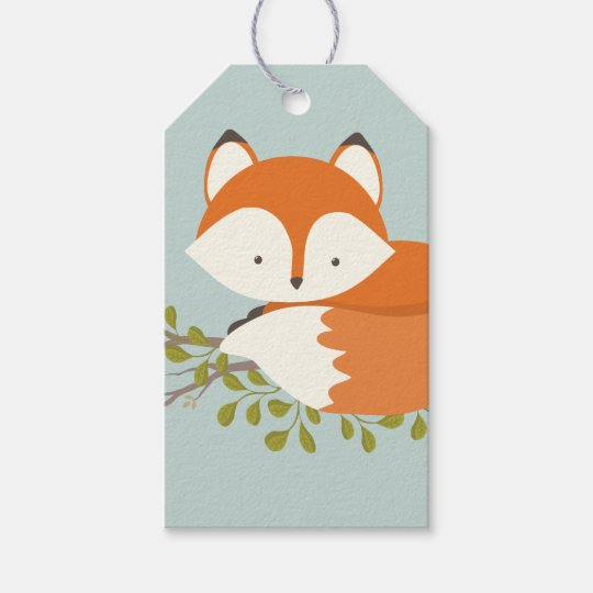 Sweet Woodland Fox Baby Shower Favour Gift Tag