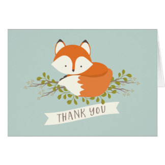 Sweet Woodland Fox Thank You Card