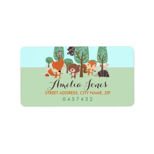 Sweet Woodland Friends Baby Shower Address Labels