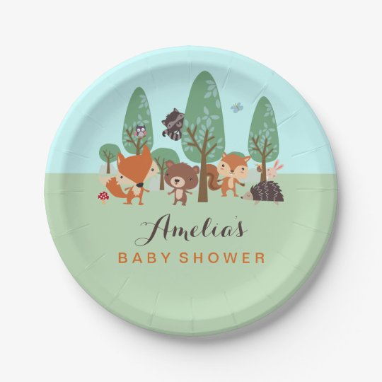 Sweet Woodland Friends Baby Shower Paper Plates 7