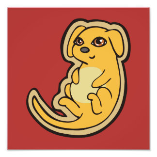 Sweet Yellow And Red Puppy Dog Drawing Design Art Photo