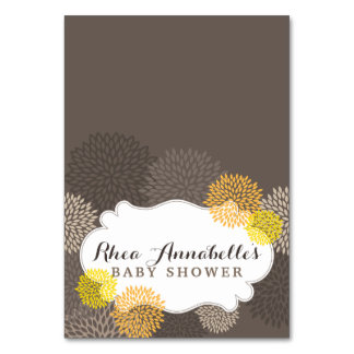 Sweet Yellow Blooms - Yellow Gray Brown Tent Card Table Card
