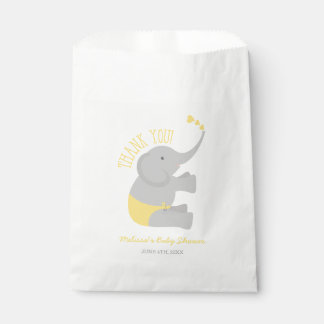 Sweet Yellow Gray Elephant Baby Shower Favour Bags