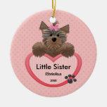 Sweet Yorkie Little Sister Christmas Ornament