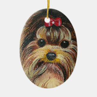 Sweet Yorkie Portrait Ceramic Oval Decoration