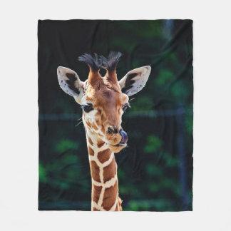 sweet young giraffe fleece blanket