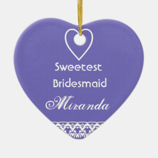 Sweetest BRIDESMAID Purple and White Ceramic Heart Decoration