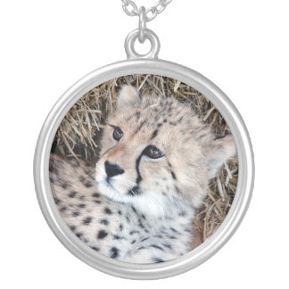 Sweetest Cheetah Cubs Photo Silver Plated Necklace