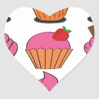 Sweetest Cupcakes Heart Sticker