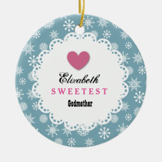 Sweetest Godmother Blue and White Snowflakes S21Z Round Ceramic Decoration